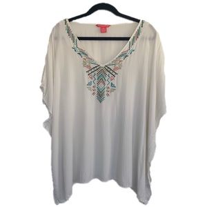 Sunny Leigh Plus Size  3X Boho Embroidered Top